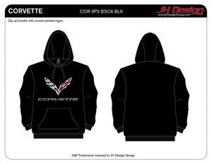 Corvette Pullover Hoodie Mens Black Logo Sweatshirt COR9P3BSC6BLK