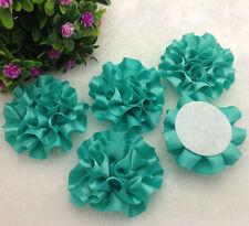 5pcs Cyan satin ribbon big Peony Flower Appliques/Wedding/decoration#