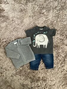 NEXT BABY BOYS 0-3 MONTHS OUTFIT, JEANS, CARDIGAN, TOP BUNDLE COMBINED POST