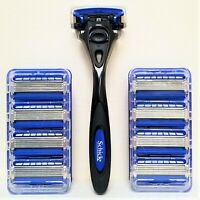 NEW SET: Schick HYDRO5 with TRIMMER - 9 REFILLS AND 1 BLACK HANDLE - FREE SHIP