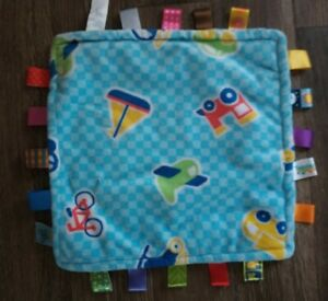 TAGGIES Blue Square Vehicles LOVEY Tags Baby Security Blanket Car Bike Plane