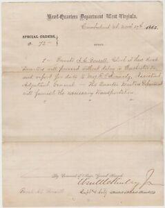 WILLIAM McKINLEY - PRESIDENT OF US - SIGNED 1865 CIVIL WAR DOCUMENT - SCARCE