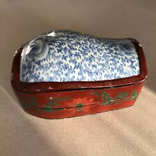 Vintage Chinese Lacquered Hand Painted Wooden Box With Inlaid Porcelain Lid Top