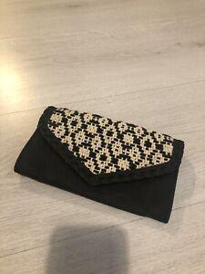 Unbranded Boho Chic Burlap Black Faux Leather Large Purse / Wallet
