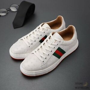 White Shoes Genuine Ostrich Leather Men's Sneakers Size 6 - 11US #9665