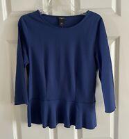 ANN TAYLOR Factory Navy Blue Peplum 3/4 Sleeve Top Shirt Women's Medium NWT NEW