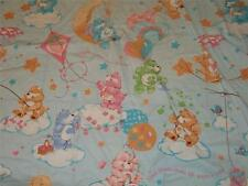 Set of 2 Vintage CARE BEARS Blue Twin Flat & Fitted Bed Sheets {Fabric}