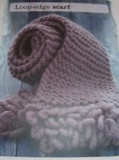 Garter Stitch Scarf  with loop edge ~ Chunky Knitting Pattern ~ Easy Design