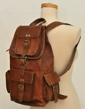 Large Vintage Style Real Genuine Leather Bag Rucksack Backpack Dark Brown Unisex