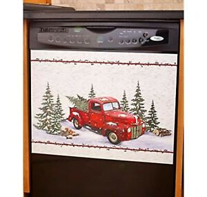 Vintage Country Red Truck Christmas Scene Kitchen Dishwasher Cover Magnet