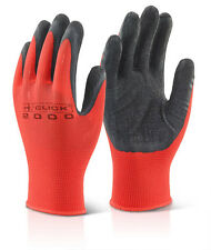 Click 2000 Latex Palm Dipped Poly Grip Work Safety Gloves MP4 Red & Black Size M