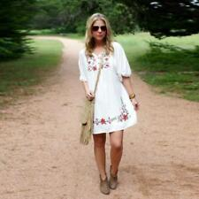 Women Dress Mexican Ethnic Embroidered-Dress Hippie Blouse Gypsy Boho Mini Dress