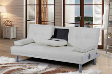White Leather Sofa Bed Bluetooth Speakers Modern Stylish Gaming Arm Chair Double