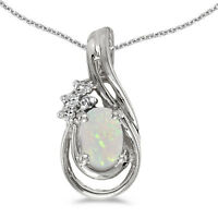 "14k White Gold Oval Opal And Diamond Teardrop Pendant with 18"" Chain"