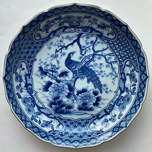Large peacock pattern Japanese blue and white porcelain plate