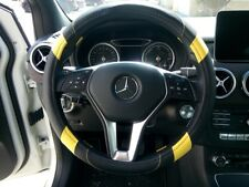 PU Leather Steering Wheel Cover Good Fit Black & Yellow For Auto Truck Van Jeep