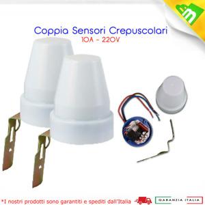 2x Interruttore Crepuscolare Sensore per Esterno Lampada Notturna LED 10A 220V