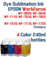4 Dye Sublimation Ink Epson WorkForce WF 3620 3640 7110 7210 7610 7620 7710 7720