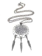 Native Indian Seed of life Feather Dream Catcher Necklace Pendant