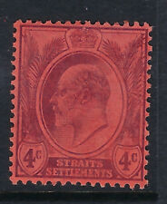 STRAITS SETTLEMENTS : 1905 Ed VII 4c purple/red, chalky paper  SG129a mint
