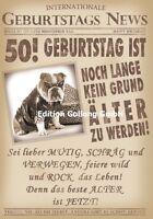 Glückwunschkarte zum 50.Geburtstag-s-News*Hund*Zeitung Grußkarte mit Humor