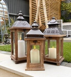 Wood & Metal Lantern Vintage Candle Tea Light Holder Wedding Venue Decoration