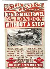 """VINTAGE POST CARD: """"GREAT WESTERN RALWAY ~ LONG DISTANCE TRAVEL TO /FROM LONDON"""""""