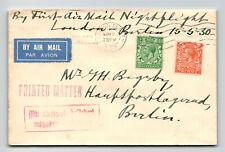 Gb 1930 Luft Hansa First Night Flight London - Brussels - Z13776