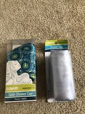 2 New Conair Satin Shower Caps Terry Lined Shower Caps