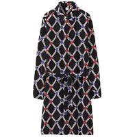 Uniqlo Celia Birtwell Dress Medium Silk Floral Retro 60s 70s Long Sleeve Navy
