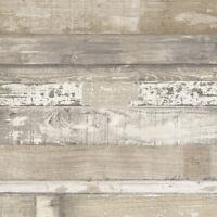 Beachwood Wood Planks n Beige, Off White, Grey in Solid Vinyl Wallpaper FH37556