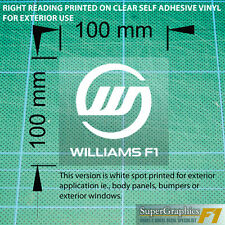 To fit Williams F1 fan Race Car Sticker Decal 100x100mm exterior x1 white clear