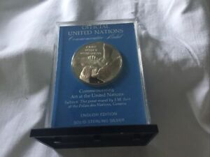 1972 United Nations Sterling Silver Proof Medal Art At The UN 1972