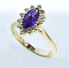 Amethyst Diamond Halo  Ring 14k Yellow Gold