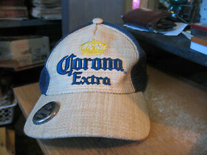 Official Corona Extra Hat Straw Bottle Opener Trucker Snapback Ball Cap NOS