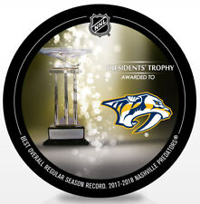NASHVILLE PREDATORS 2018 NHL PRESIDENT'S TROPHY SOUVENIR HOCKEY PUCK - NEW