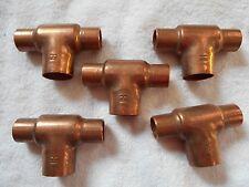 "5 Pieces Copper 1/2"" X 1/2"" X 3/4"" Bullhead Tee CxCxC - New - 2 5/8"" Long"