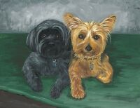 8X10 PRINT OF PAINTING RYTA YORKSHIRE TERRIER YORKIE SHIH TZU SHORKIE DOG ART