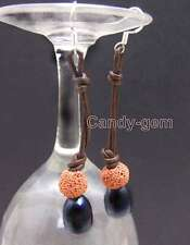 Big 10-11mm Black Natural FW Rice Pearl Dangle Leather earring & Red Lava-ear430