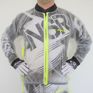 APICO RAIN JACKET ADULT WATERPROOF CLEAR/YELLOW MOTOCROSS MX ENDURO BMX QUAD MTB