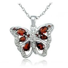Sterling Silver Garnet and White Topaz Butterfly Necklace