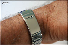 22mm Curved End Stainless Steel bracelet, Polished Screws Links Fit most watches