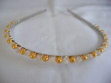 handmade gold pearl crystal bride wedding dance aliceband hair tiara headband