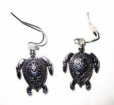 Cute Pierced Silvertone Turtle Hook Earrings Never Worn