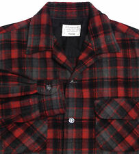 Vtg 50s Mens TOWNCRAFT Wool Loop Collar Shirt MED Red Plaid Flap Pockets Flannel