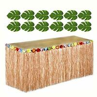 Hawaiian Luau Party Bundle 12 Green Tropical Leaves 1 Brown Grass Table Skirt