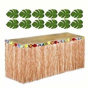 Hawaiian Luau Party Bundle 12 Green Tropical Leaves 1 Brown Grass Table Skirt