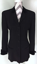 SALVATORE FERRAGAMO Womens Black Wool Velvet Collar Cuffs Blazer Jacket 42 6 Med