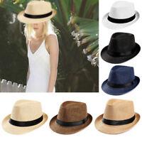 Unisex Men Women Fedora Gangster Cap Autumn Beach Sun Straw Panama Hat Sunhat US