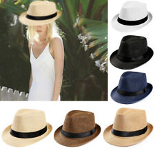 Unisex Men Women Fedora Gangster Cap Autumn Beach Sun Straw Panama Hat Sunhat I